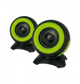 ADJ 760-00011 SP025 Sphere Speaker Set [2x 6W, 2.0CH, USB Powered, 4O, 85Hz-20KHz, >60dB, Green]